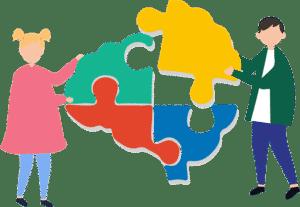 síndrome de angelman dos personas construyendo el puzzle de un cerebro